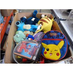 BOX OF POKEMON TOYS AND VARIOUS VIDEOGAMES