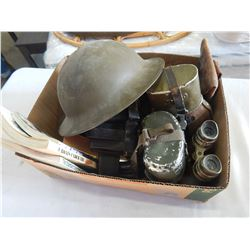 LOT OF MILITARY COLLECTIBLES HELMET, POUCHES, AND CANTEENS