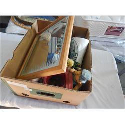BOX OF COLLECTIBLES AND VAN HALEN MIRROR