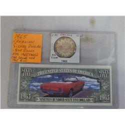 1965 CANADIAN SILVER DOLLAR PLUS CLASSIC CAR SERIES USA 1965 BILL