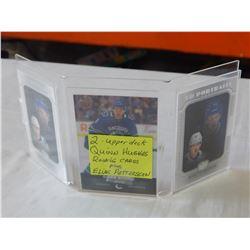 2 UPPER DECK QUINN HUGHES ROOKIE CARDS, PLUS ELIAS PETTERSSON UD CARD