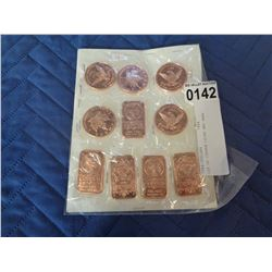 LOT OF COPPER COINS AND BARS