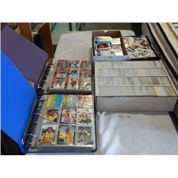 LOT OF 3 BOXES AND 2 BINDERS OF HOCKEY CARDS FROM 1990s