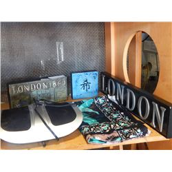 2 LONDON SIGNS, FOOT MASSAGE, AND VINTAGE KOALA TAPESTRY