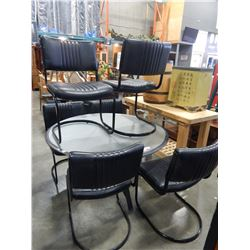 METAL TABLE BASE W/ GLASS AND 6 LEATHER AND METAL CHAIRS