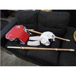 KENDO STICKS AND PROTECTIVE GEAR