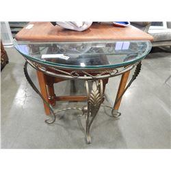 METAL OVAL DECORATIVE TABLE W/ GLASS