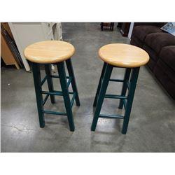 2 GREEN AND MAPLE STOOLS