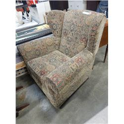 FLORAL FABRIC WINGBACK CHAIR