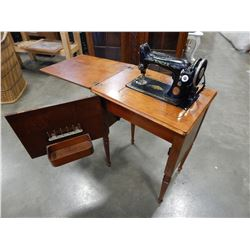 ANTIQUE ELECTRIC SINGER SEWING MACHINE IN TABLE