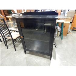 PAINTED BLACK GLASS DOOR DISPLAY CABINET