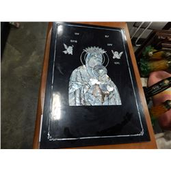INLAYEDE MOTHER OF PEARL RELIGIOUS PLAQUE