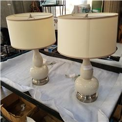 PAIR OF MODERN BEIGE CRACKLED LAMPS WITH SHADES