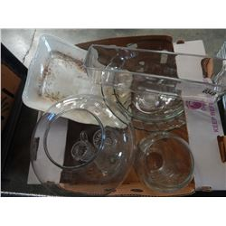 LOT OF LARGE GLASS BOWLS, VASES, AND TRAY