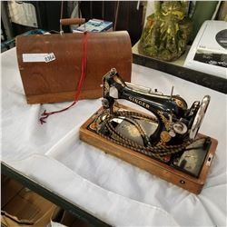 VINTAGE SINGER SEWING MACHINE WITH LIGHT IN BOX
