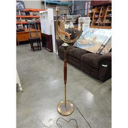 MID CENTURY MAJESTIC TEAK AND BRASS FLOOR LAMP
