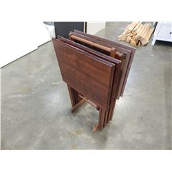 SET OF 4 TV TRAYS ON STAND