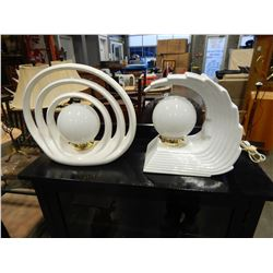 2 DECORATIVE WHITE TABLE LAMPS