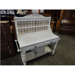 ANTIQUE SHABBY SHEAK MARBLE TOP WASH STAND
