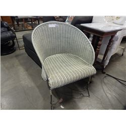 WICKER AND IRON TUB CHAIR