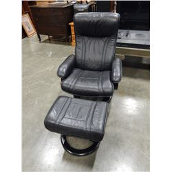 BLACK LEATHER SWIVEL RECLINING CHAIR AND FOOTSTOOL
