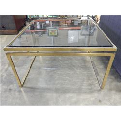 BRASS FRAME COFFEE TABLE W/ GLASS TOP