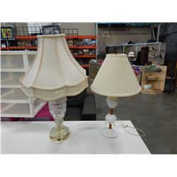 HOBNAIL MILK GLASS TABLE LAMP AND GLASS TABLE LAMP