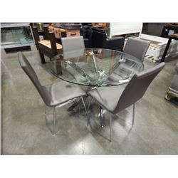 ROUND MODERN GLASS AND CHROME DINETTE TABLE AND FOUR GREY LEATHER CHAIRS