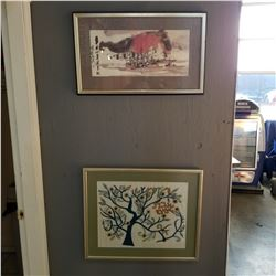 FRAMED EASTERN PAINTING AND FRAMED TAPESTRY
