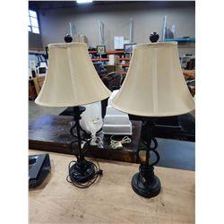 PAIR OF BLACK METAL TABLE LAMPS