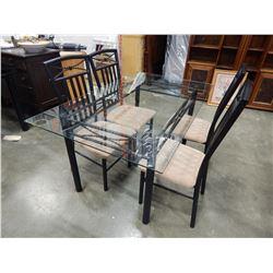 BLACK METAL GLASSTOP DINING TABLE W/ 4 METAL CHAIRS