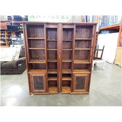 2 PIECE HAND CARVED SHELVING UNITS