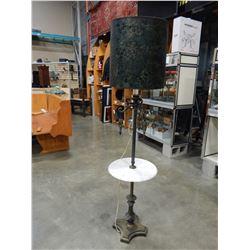 VINTAGE METAL AND MARBLE END TABLE FLOOR LAMP