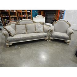 LARGE ROLLED ARM SOFA AND CHAIR
