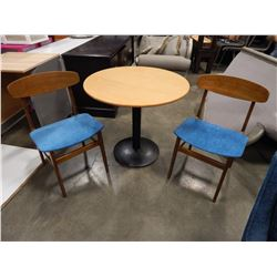ROUND MAPLE BISTRO TABLE AND 2 MID CENTURY MADE IN DENMARK CHAIRS