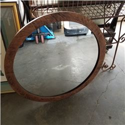 WOOD FRAMED ROUND MIRROR