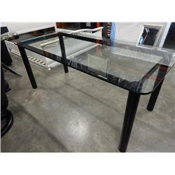 GLASS TOP TABLE W/ METAL BASE