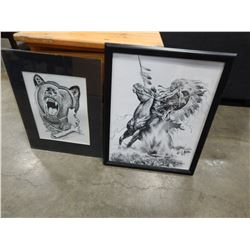 TWO NATIVE PRINTS ONE IS SIGNED BY TENNY WHITEFIELD