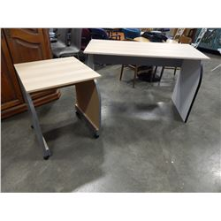 DESK AND ROLLING SIDE TABLE
