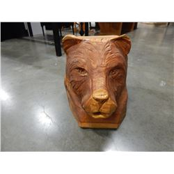 WOOD CARVED LION FACE