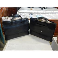 2 MONT BLANC BLACK LEATHER BAGS