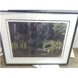 SIGNED RS PARKER 319/950 LOON PRINT IN FRAME