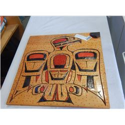 NATIVE CARVED WOOD PLAQUE SIGNED BY C.KEV.B 96