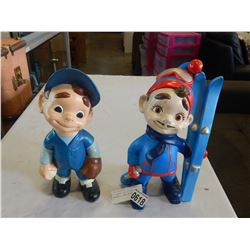 2 CERAMIC CHILD FIGURES, BASEBALL, AND SKIER