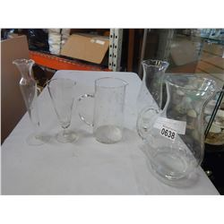 2 ETCHED GLASS PITCHERS AND 3 ETCHED GLASS VASES