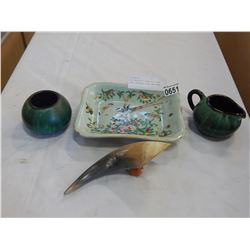BLUE MOUNTAIN CREAM AND SUGAR DISH, ORIENTAL DISH, AND HORN