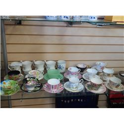 LOT OF CHINA CUPS, SAUCERS, AND MUGS