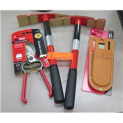 Qty 2 New Heavy Duty Planting Mattocks, Branch Pruner & Leather Scabbard