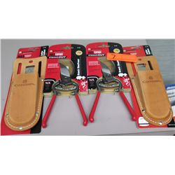 Qty 2 New Classic Cut Branch Pruners & 2 Leather Scabbards