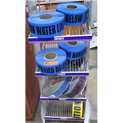 Qty 7 Blue & Yellow Safety Tapes - Water Line Below, Caution, etc
